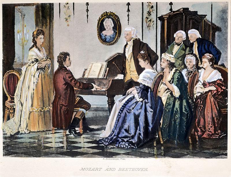 Maleri av Beethoven ved pianoet. Mozart står ved siden av. Mange tilhørere i lange kjoler.