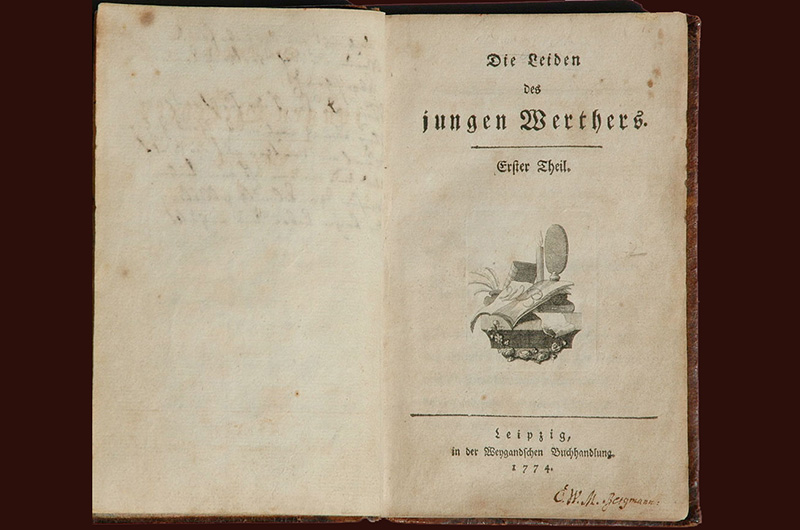 "Tittelbladet i boka ""Die Leiden des jungen Werther"" av Johann Wolfgang von Goethe ."