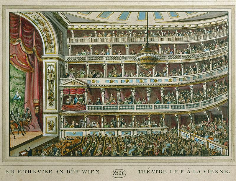 Maleri av en full teatersal med seks etasjer. Menn på hester på scenen.